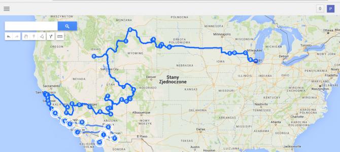 USA Mexico 2015 mapa naszej podróży