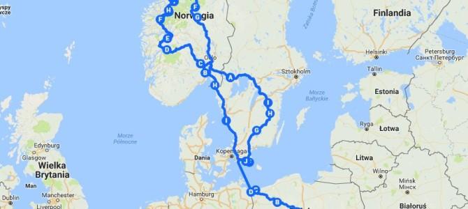 Skandynawia mapa naszej wycieczki 2018