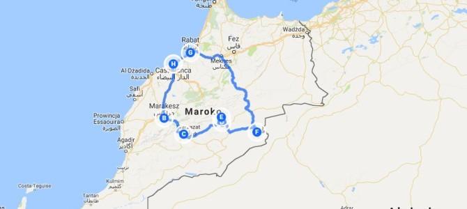 2018 Maroko mapa wycieczki 7 dni